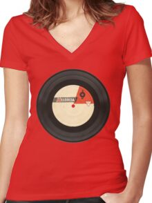 Vintage gramophone  record Women's Fitted V-Neck T-Shirt