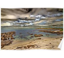 Lighthouse set against a surreal sky Poster