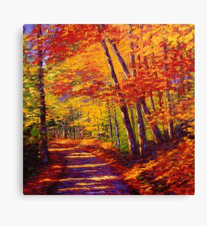 New England Autumn Maple Road Canvas Print