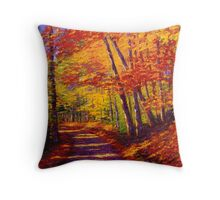 New England Autumn Maple Road Throw Pillow