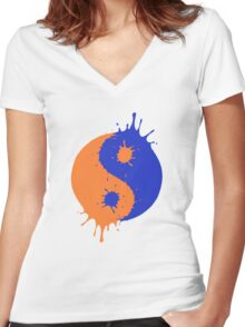 Splatoon Yin and Yang Women's Fitted V-Neck T-Shirt