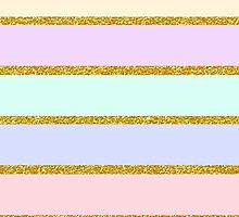 Modern pink gold glitter effect stripes pattern by Maria Fernandes