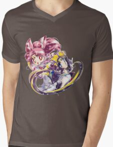 Super Sailor Moon & Chibi Moon (edit 1/B) Mens V-Neck T-Shirt