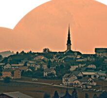 Hazy scenery with beautiful village skyline | landscape photography Sticker