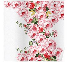 Vintage summer pink red flowers pattern Poster