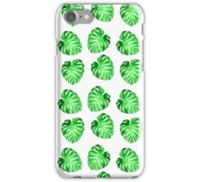 Modern green abstract leaves pattern iPhone Case/Skin