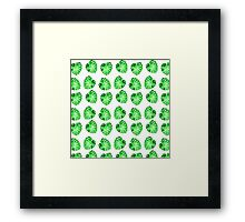 Modern green abstract leaves pattern Framed Print