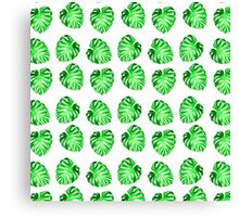 Modern green abstract leaves pattern Canvas Print