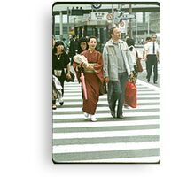 Pedestrians Crossing The Ginza. Metal Print