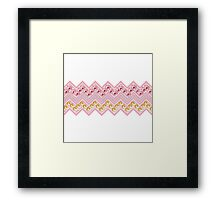 Girly pink yellow floral chevron pattern Framed Print