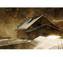 Snowstorm in the magic hour Photographic Print