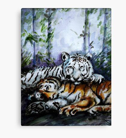 Tigers! Mother and Child Canvas Print