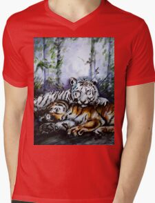 Tigers! Mother and Child Mens V-Neck T-Shirt