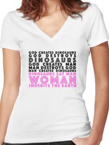Who Run the World? in White Women's Fitted V-Neck T-Shirt