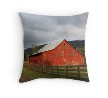 Red Barn in Poor Valley  Throw Pillow