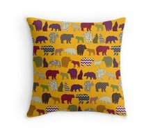 bear wolf geo party yellow Throw Pillow