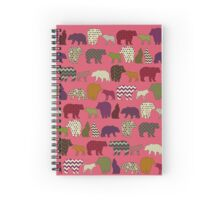 bear wolf geo party pink Spiral Notebook