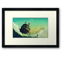 Anime floating castle Framed Print