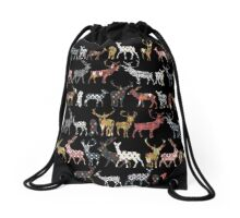 charcoal spice deer Drawstring Bag
