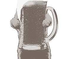 Funny Grizzly Bear & Giant Beer by pencilplus