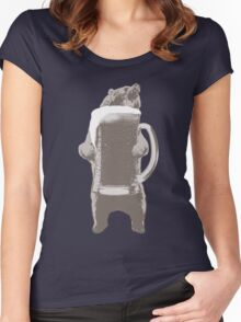 Funny Grizzly Bear & Giant Beer Women's Fitted Scoop T-Shirt