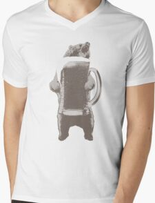 Funny Grizzly Bear & Giant Beer Mens V-Neck T-Shirt