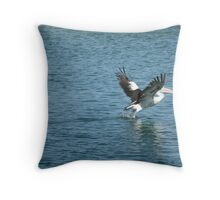 Pelican Take-off. Throw Pillow