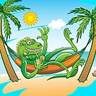 Lazy Iguana Summer on the Beach by Zoo-co