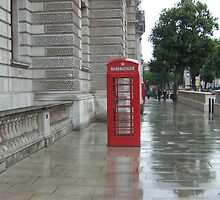 London Telephone Box in Rain  by Jubey