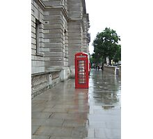 London Telephone Box in Rain  Photographic Print