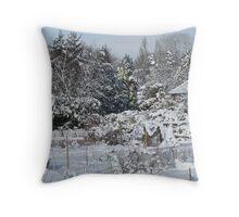 Allotments snowscene Throw Pillow