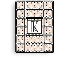 1920s Pink Champagne Gatsby Monogram letter K Canvas Print