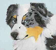 Sugar ~ Australian Shepherd Portrait ~ Oil Painting by Barbara Applegate