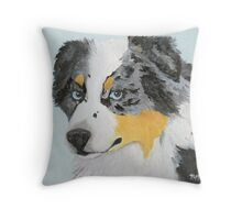 Sugar ~ Australian Shepherd Portrait ~ Oil Painting Throw Pillow