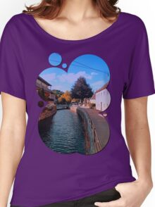 The river through the village center | waterscape photography Women's Relaxed Fit T-Shirt