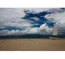 Boat on South Sea Island, Fiji Photographic Print