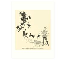 Snowdrop & Other Tales by Jacob Grimm art Arthur Rackham 1920 0198 Black Cats and Dogs from Every Corner Art Print