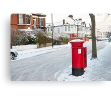 Snowy Letterbox in Idmiston Road, West Norwood, London. Canvas Print