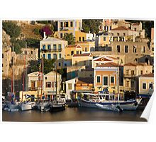 Symi island (Greece) - the picturesque toy-like harbor Poster