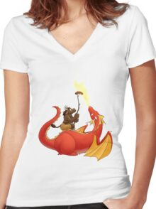Dragon barbecue Women's Fitted V-Neck T-Shirt