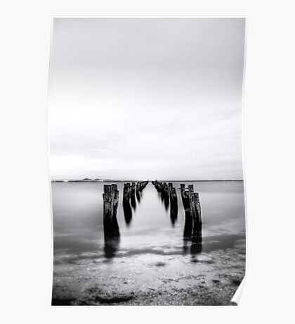 Old Jetty - Black and White 03 Poster