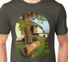Tree trunk bench on a summer evening | landscape evening Unisex T-Shirt
