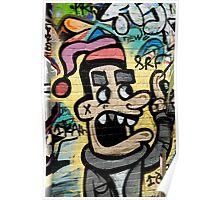Graffiti man on the textured brick wall Poster