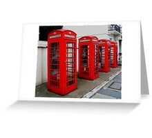 London. Phone Booths on Belgrave Street. Great Britain 2009 Greeting Card