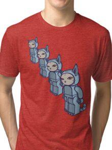 4 Blocky Cat Robot Blue Tri-blend T-Shirt
