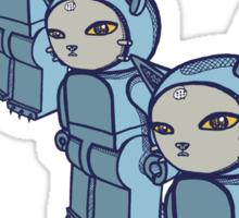 4 Blocky Cat Robot Blue Sticker