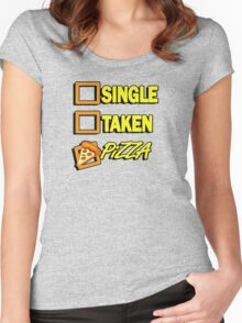 SIngle taken pizza checkboxes ticks Women's Fitted Scoop T-Shirt