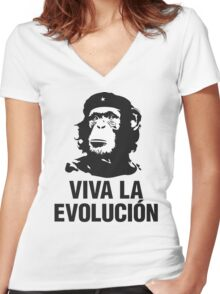 VIVA LA EVOLUCION Women's Fitted V-Neck T-Shirt