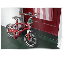 Red Radio Flyer Bicycle with frog wind chimes Poster