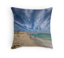 Old pier structure reaching out to sea Throw Pillow